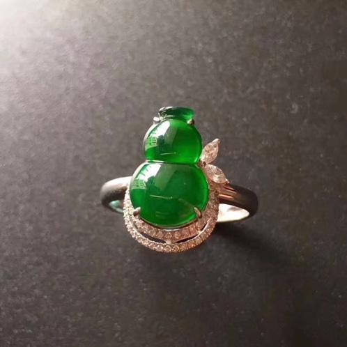 老坑种帝王绿葫芦戒指