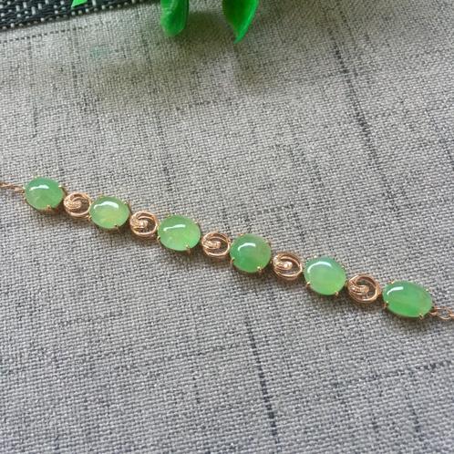 18K金镶嵌冰种满绿手链