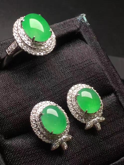 冰种阳绿耳钉+戒指套装