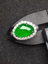 老坑种正阳绿水滴翡翠戒指 豪华镶嵌