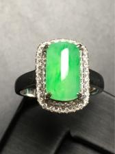 冰种翡翠阳绿方形戒指