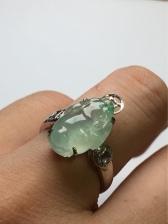 冰飘绿花貔貅翡翠戒指