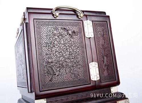 老挝大红酸枝百鸟朝凤首饰盒第2张