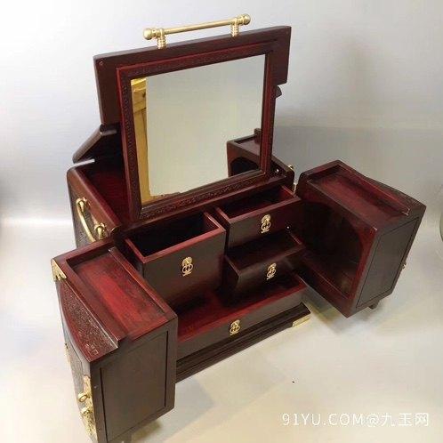 老挝大红酸枝百鸟朝凤首饰盒第3张