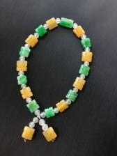 天然翡翠A货正品黄加绿手链