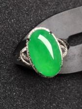 满绿蛋面翡翠戒指