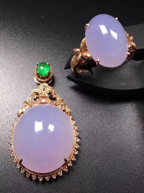 紫罗兰蛋面翡翠吊坠+戒指套装