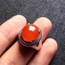 天然a货翡翠冰种红翡戒指