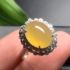 黄翡冰种蛋面翡翠戒指