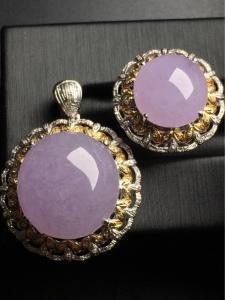 冰种紫罗兰套装吊坠戒指