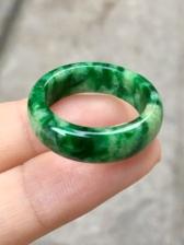 正品天然a货翡翠黄加绿戒指
