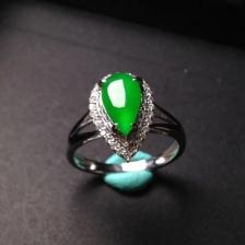水滴冰种满绿翡翠戒指