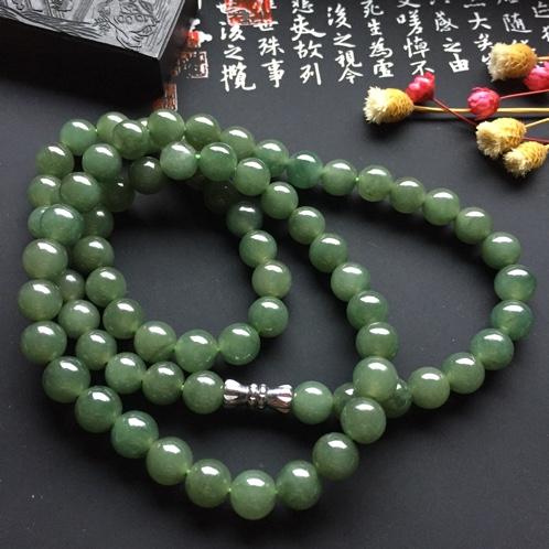 天然A货翡翠老坑油青种兰水项链纯手工编织尺寸颗