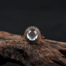 18k玻璃种无色翡翠戒指
