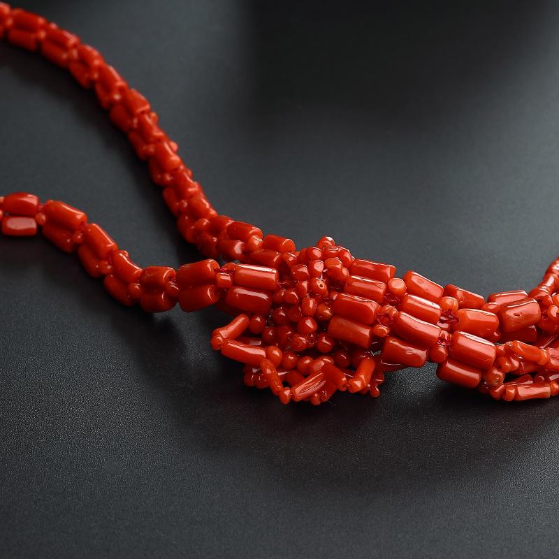 沙丁红珊瑚太阳花毛衣链第4张