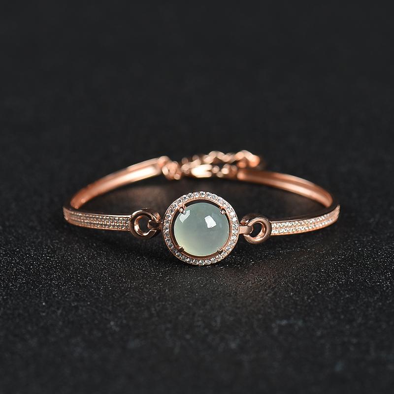 银镶糯种翡翠手环