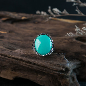 银镶中高瓷蓝绿松石戒指