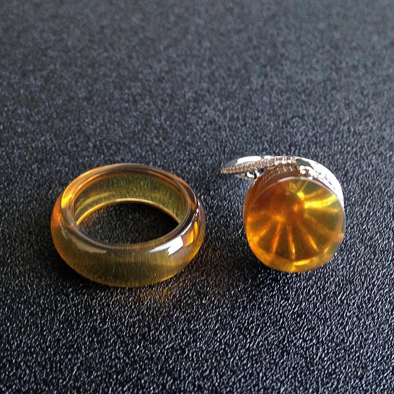 银镶金棕珀戒指环扣两用款