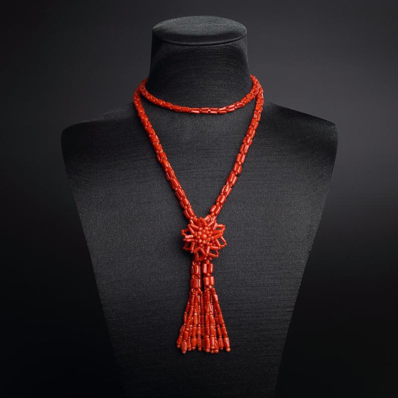 沙丁红珊瑚太阳花毛衣链第6张
