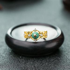 银镶中高瓷浅蓝绿松石戒指
