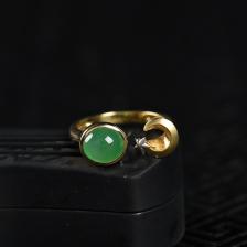 18K糯冰种豆绿翡翠戒指