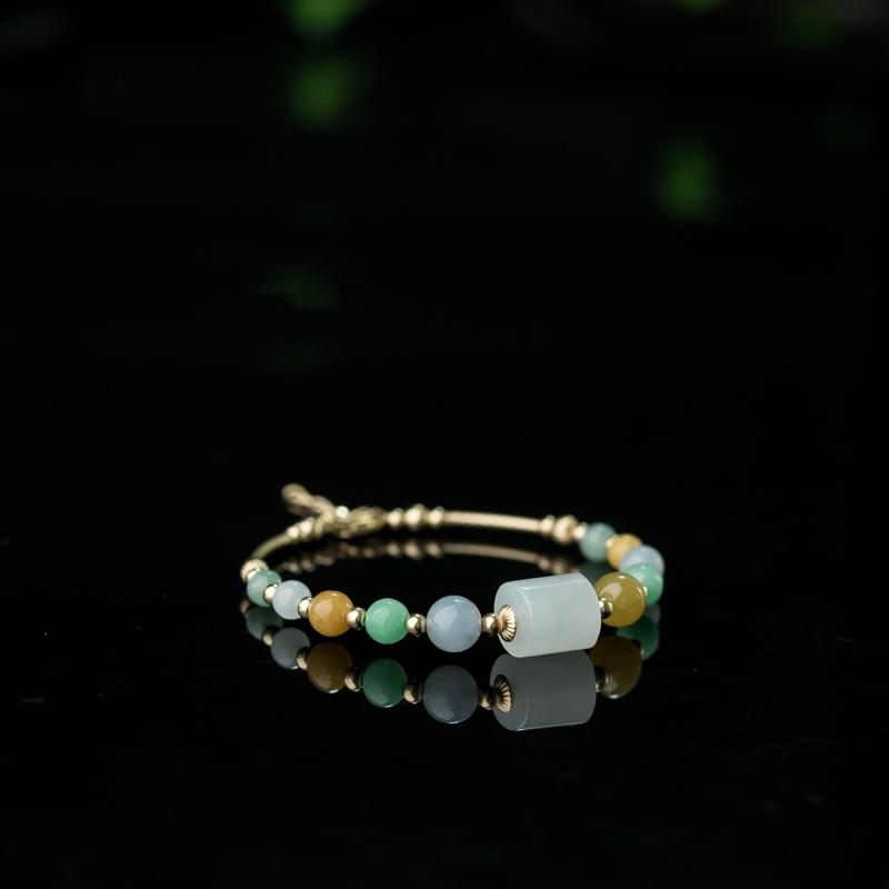 55mm14K糯种三彩翡翠手环