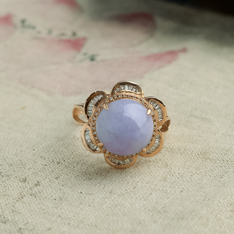 18K金糯种紫罗兰翡翠圆形戒指