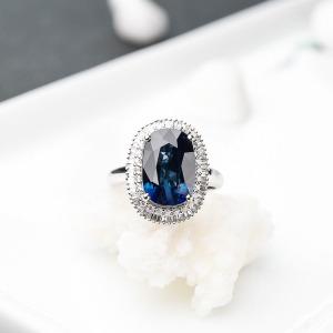 18K深蓝色蓝宝石戒指/吊坠两用款