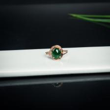 18k糯种翠绿翡翠随形戒指