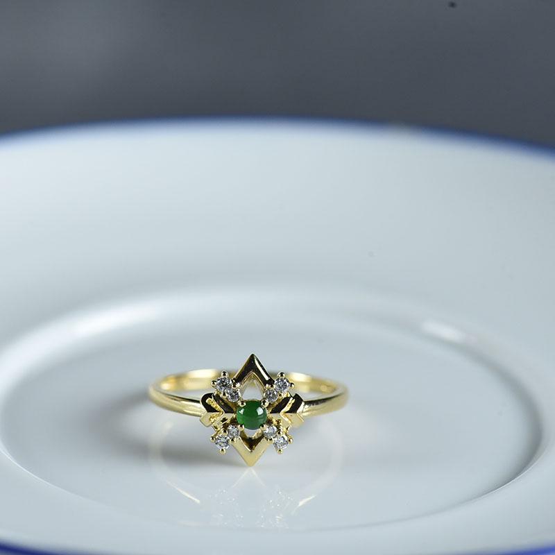 18K糯冰种蓝水翡翠戒指