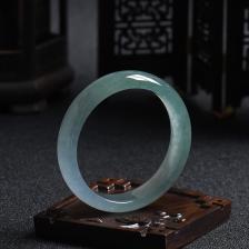 54.52#糯冰种油青翡翠手镯