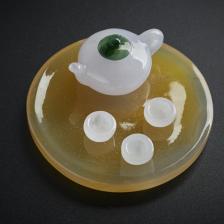 糯种翡翠茶具摆件