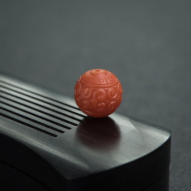13.5mm柿子红南红回纹珠第3张