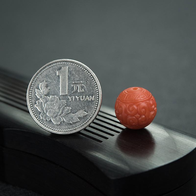 13.5mm柿子红南红回纹珠第7张