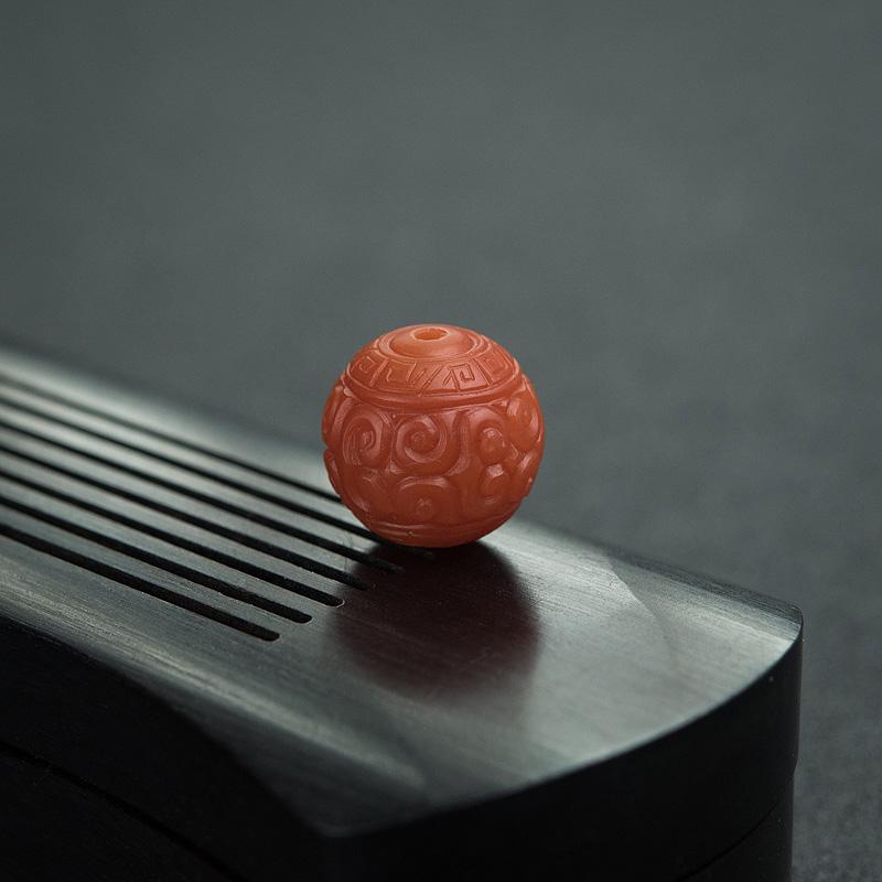 13.5mm柿子红南红回纹珠第2张