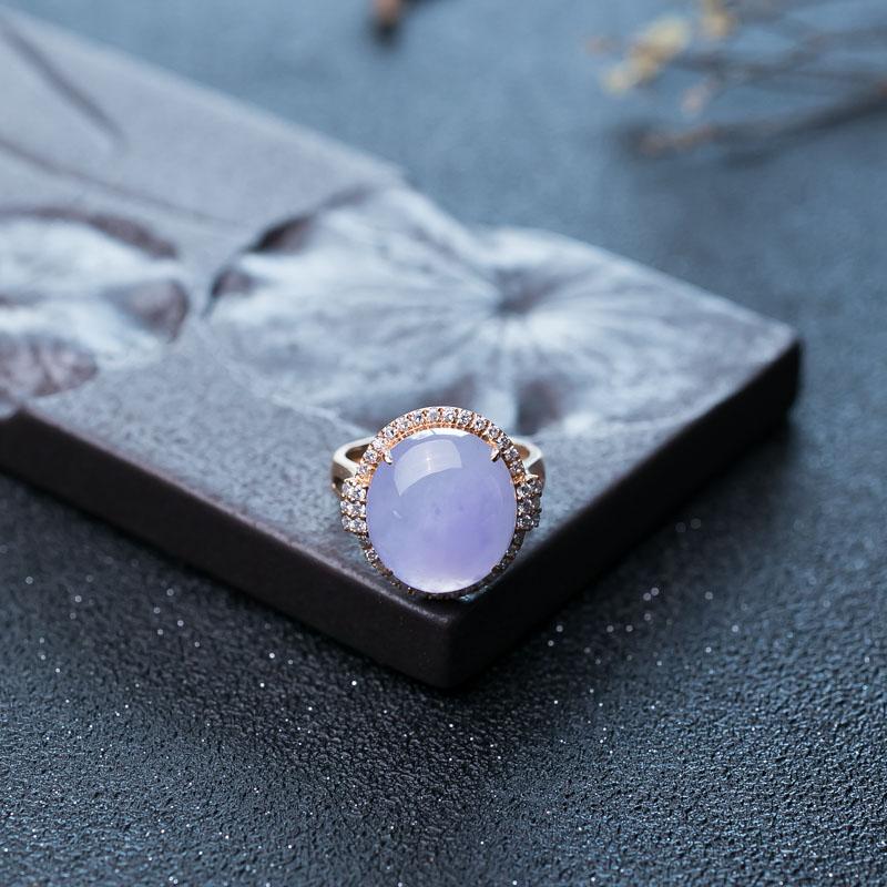 18K糯冰种紫罗兰翡翠戒指