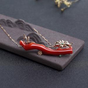 18K金镶钻阿卡正红珊瑚锁骨链