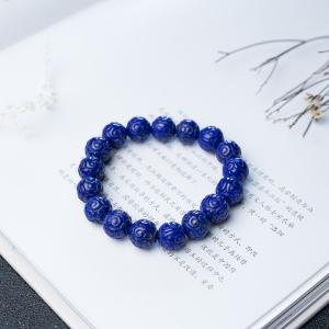 12mm深蓝色青金石回纹珠手串