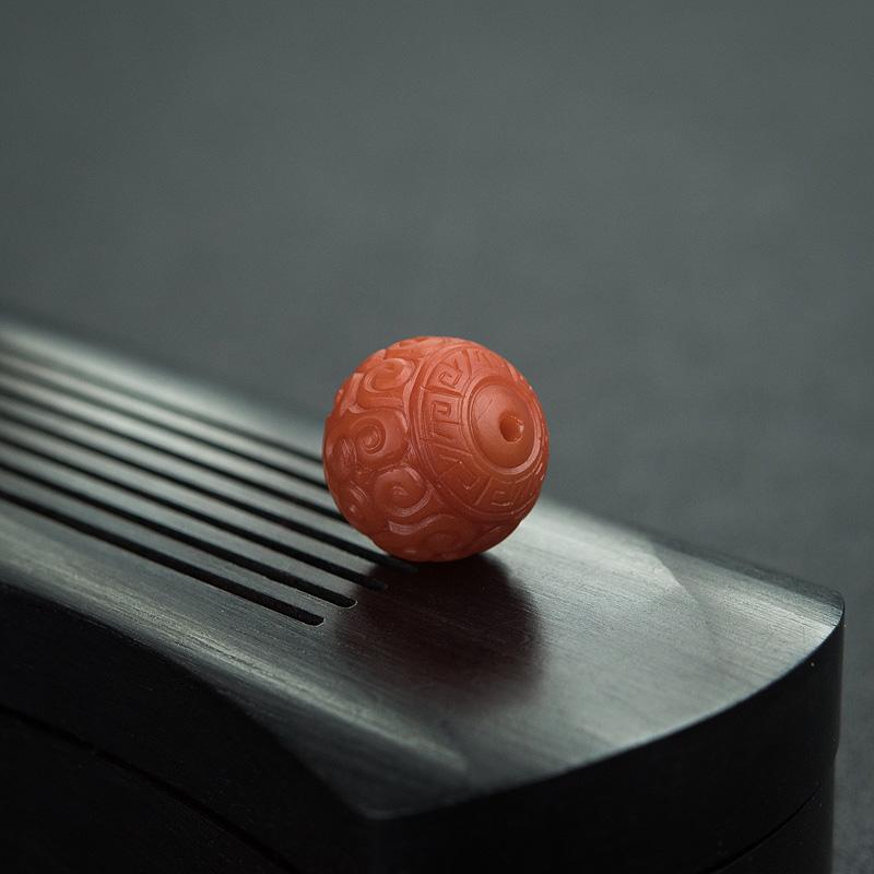 13.5mm柿子红南红回纹珠第5张