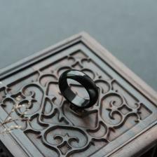 糯种墨翠指环