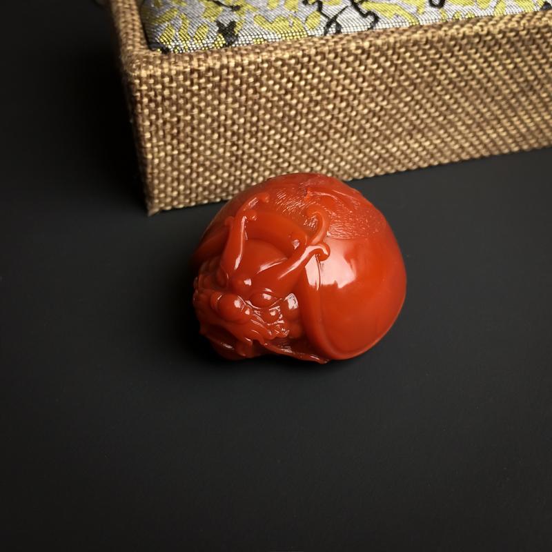 柿子红南红赑屃吊坠第3张