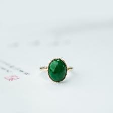 18K糯种翠绿翡翠戒指