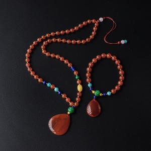 南红圆珠手链/项链套装