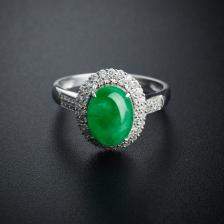 18K金糯种飘绿翡翠戒指
