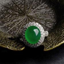 18K金镶钻冰种帝王绿翡翠戒指