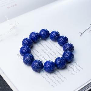 19.5mm深蓝色青金石回纹珠手串