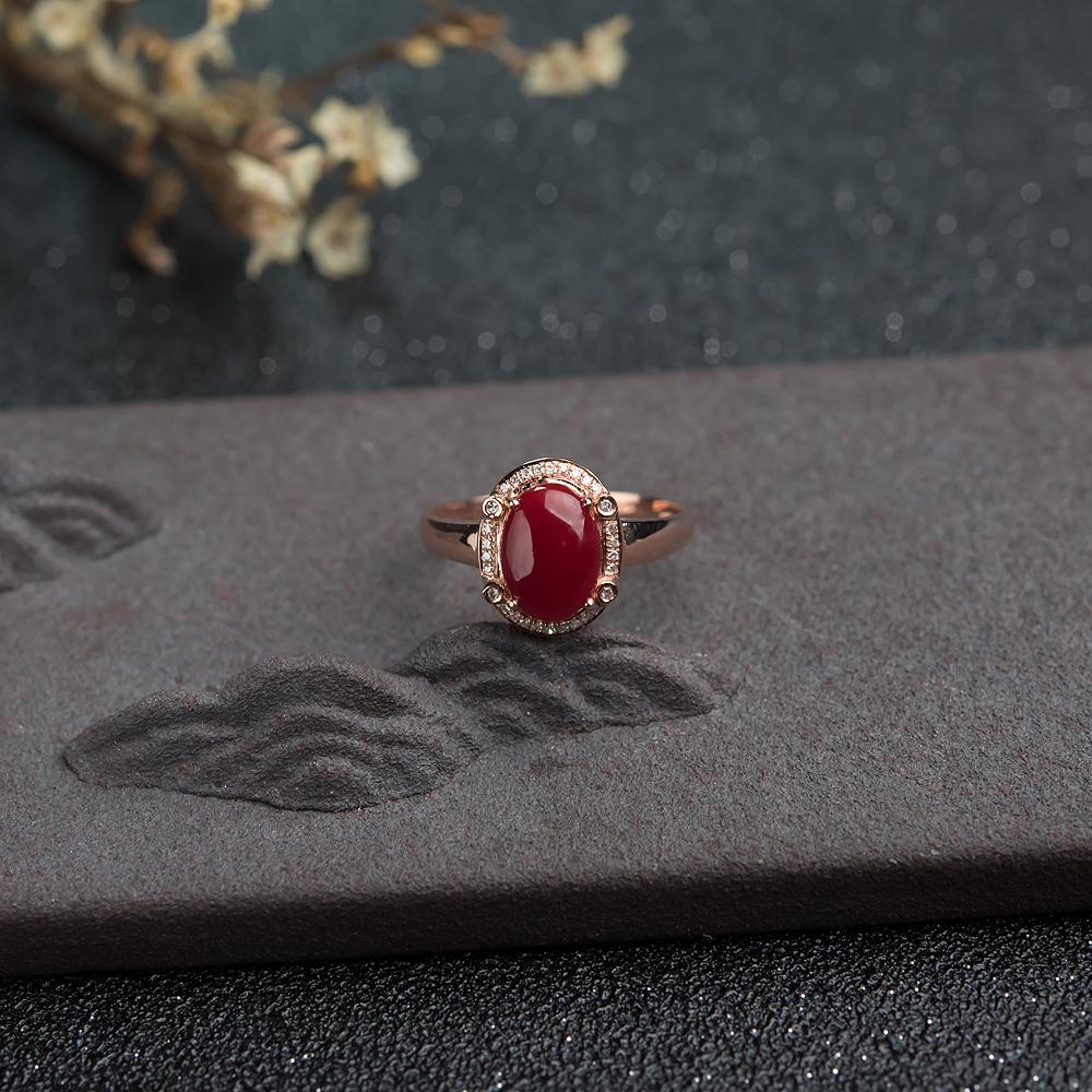 18K金镶钻阿卡深红珊瑚戒指第1张