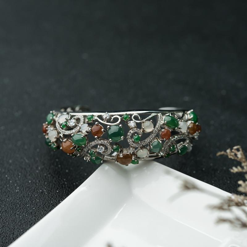 银镶糯冰种三彩翡翠手环