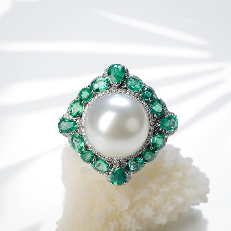 18K海水白色珍珠戒指/吊坠两用款