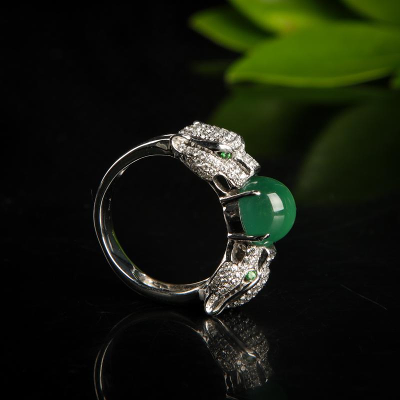 18K糯冰种蓝绿翡翠戒指